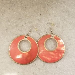 Coral colored shell earrings